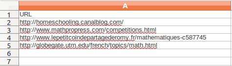 Fichier CSV avec les URLs